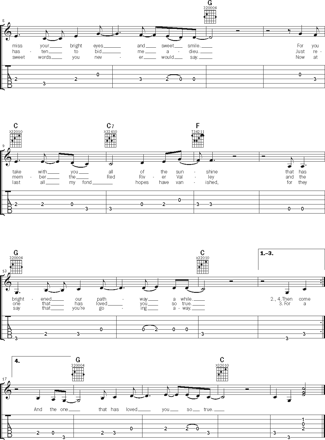 guitar notation for 'Red River Valley' page 2