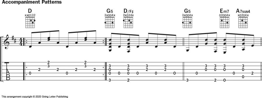 guitar notation for 'Oh Shenandoah'