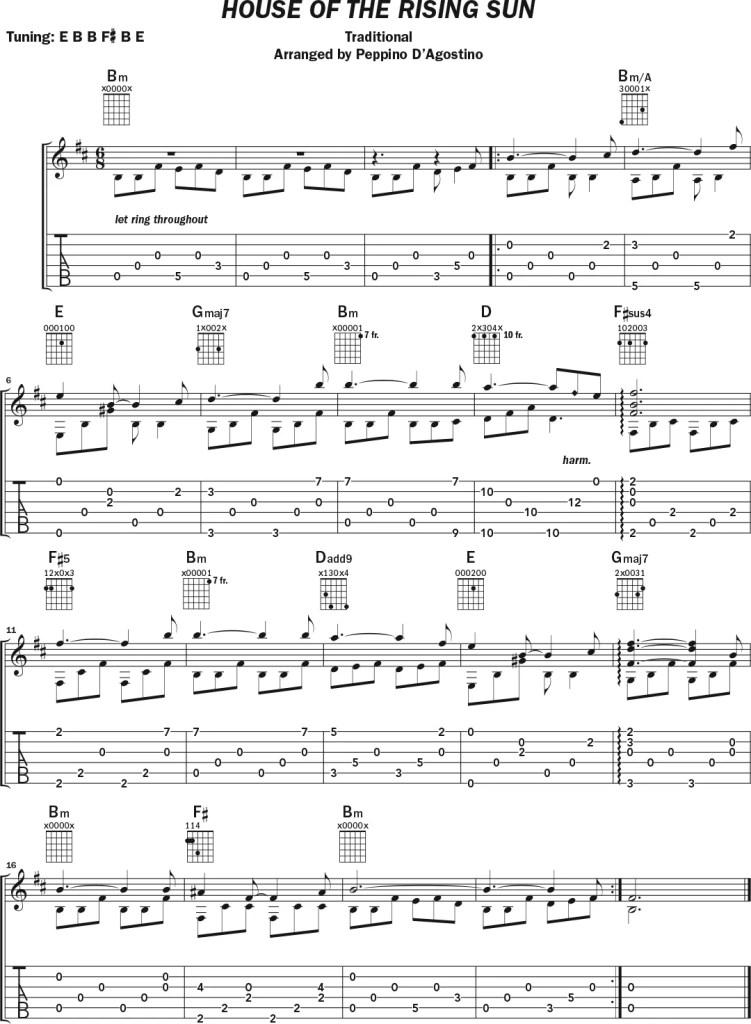 "Guitar lesson alternate tuning E B B F# B E music notation ""House of the Rising Sun"""