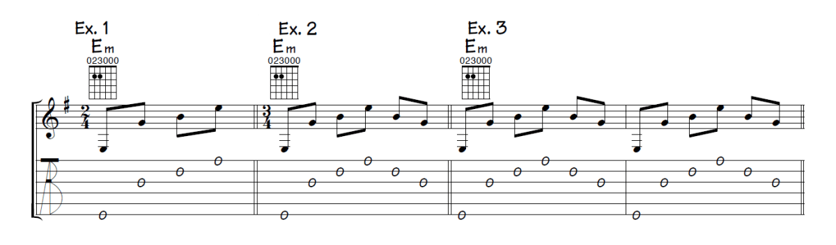 Musical examples 1 through 3 showing picking patterns for E minor written in both standard notation and TAB