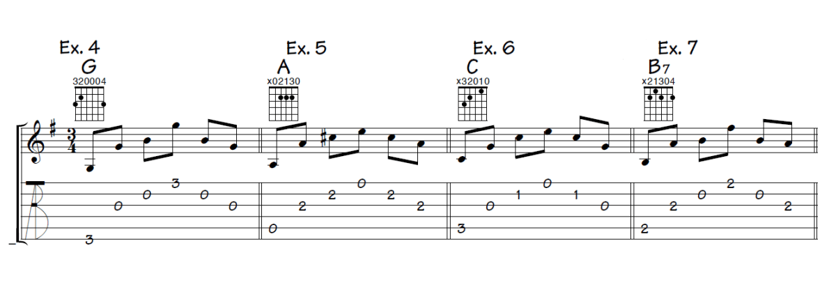 Musical examples 4 through 7 showing picking patterns for G major, A major, C major, and B7 written in both standard notation and TAB