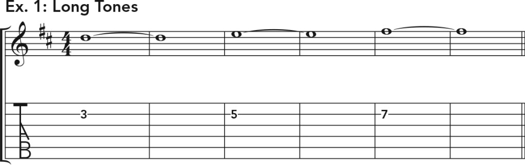 how to get good acoustic guitar tone, ex. 1 music notation