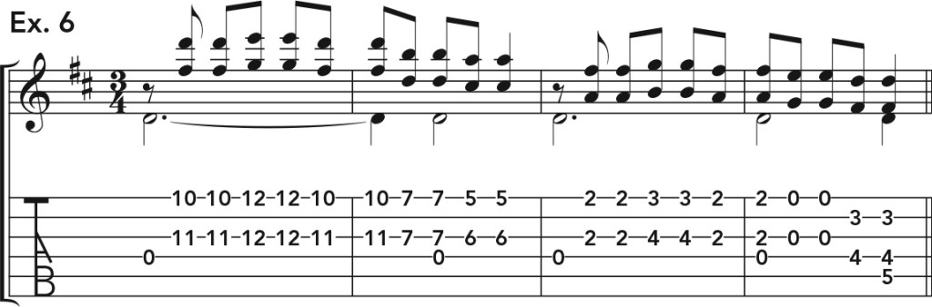 how to get good acoustic guitar tone, ex. 6 music notation