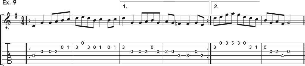 how to get good acoustic guitar tone, ex. 9 music notation