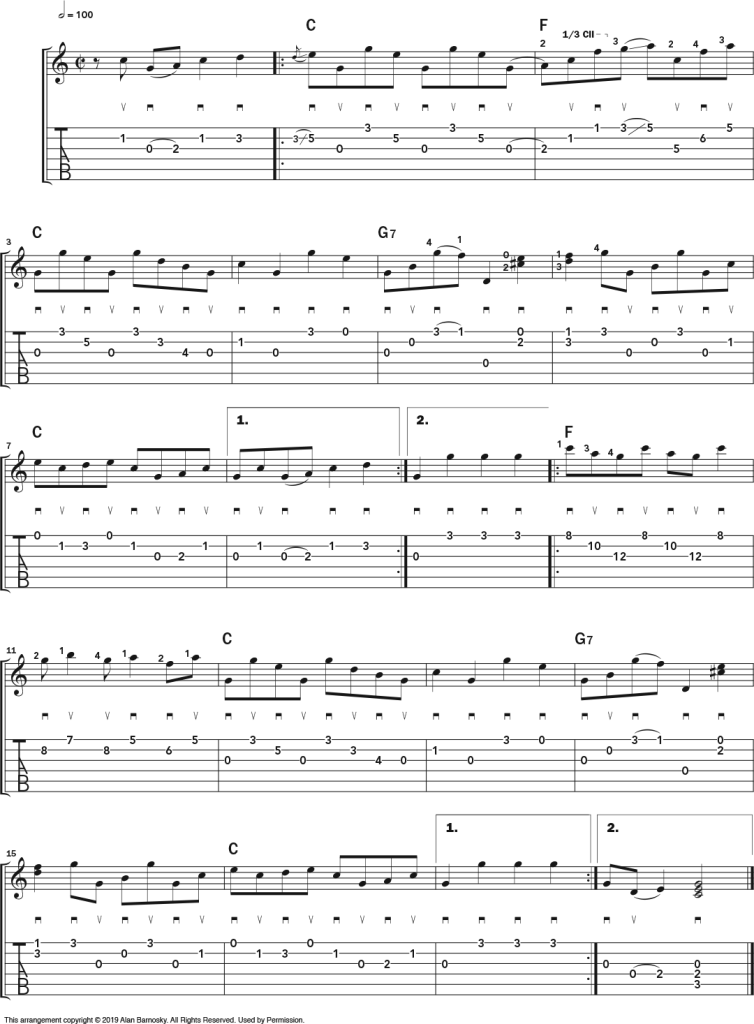 'Home Sweet Home' music notation Flatpicking Workout Inspired by a Banjo Classic