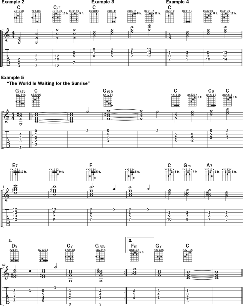 How to Visualize and Play Chords Up the Neck guitar lesson music notation