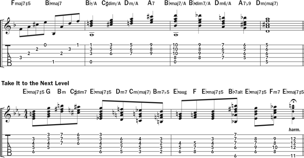Building Colorful Chords from the Harmonic and Melodic Minor Scales guitar lesson music notation sheet 3