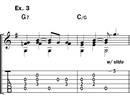 Musical example 3 showing how to play a slide note like Booker White
