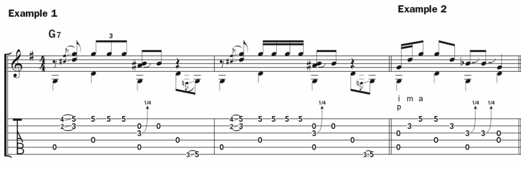 """Musical example 1 and example 2 showing the guitar part for """"Crazy"""" in both standard notation and tablature."""