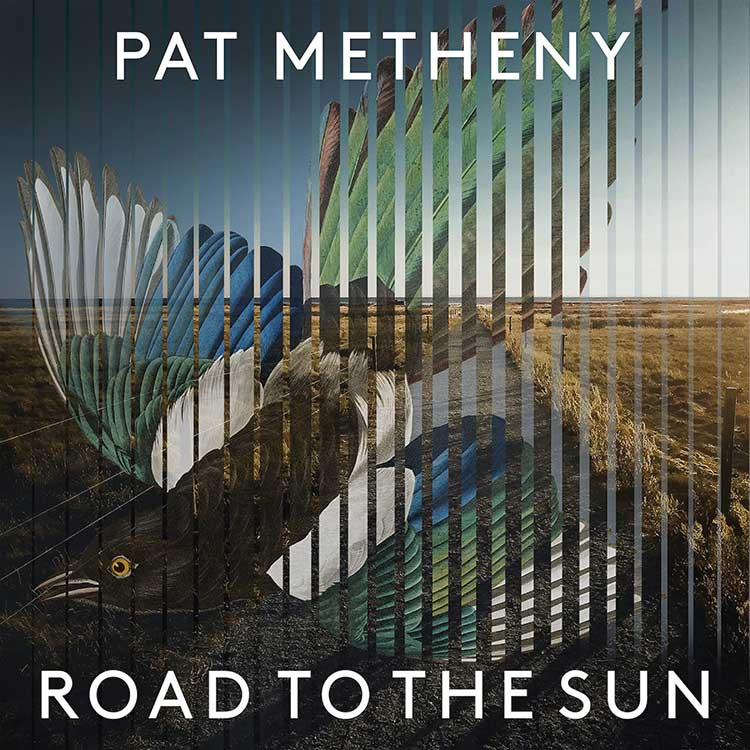 """The cover artwork of Pat Meheny's album """"Road to the Sun"""" shows a louvered image of a multi-colored bird superimposed over photograph of a deserted path leading through coastal fields and dunes to the ocean"""