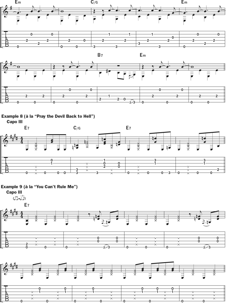Lucinda Williams examples 7 (continued), 8, and 9 -  musical notation and tab in the style of The Ghosts of Highway 20, Pray the Devil Back to Hell, You Can't Rule Me