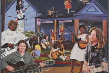 Famous female guitarists mural at Fanny's House of Music in Nashville