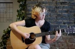 kate koenig teaches I-vi-IV-viidim-V7-I chord progression on acoustic guitar