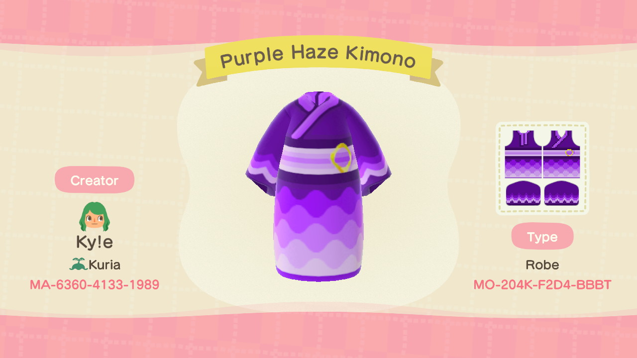 Purple Haze Kimono Animal Crossing Pattern Gallery Custom Designs