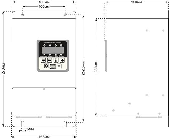 Габаритные размеры преобразователей CFM310 4кВт, 5,5кВт, 7,5кВт, 11кВт.