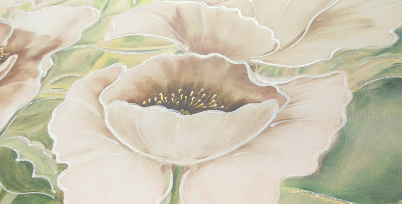 quadro moderno con fiori papaveri bianchi dipinto floreale montmartre decorato