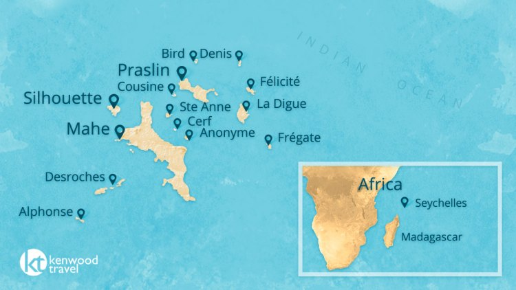 Map of the most important islands in the Seychelles archipelago