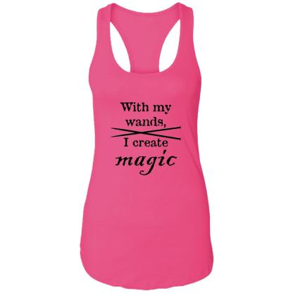 Knitting needles magic wands ideal racerback tank