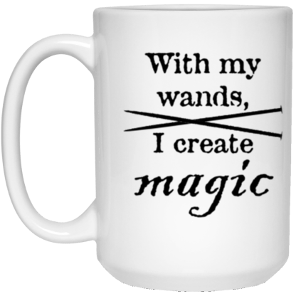 Knitting needles magic wands mug