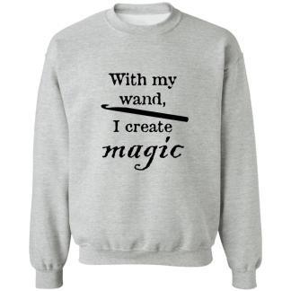 Crochet hook magic wand crewneck pullover sweatshirt