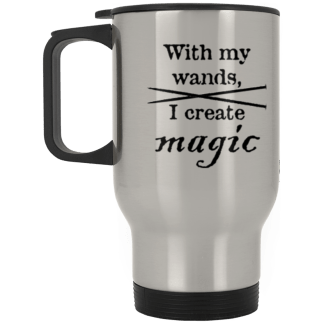 Knitting needles magic wands travel mug