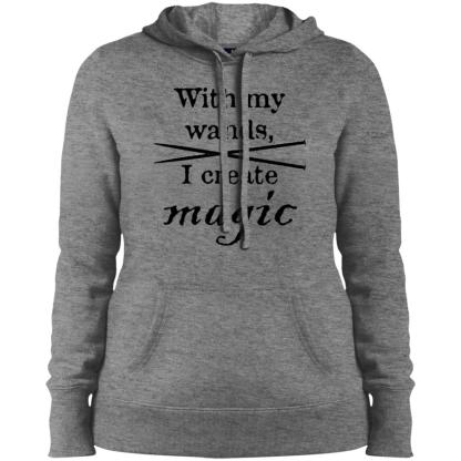 Knitting needles magic wands pullover hooded sweatshirt