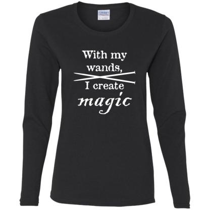 Knitting needles magic wands long sleeve t-shirt