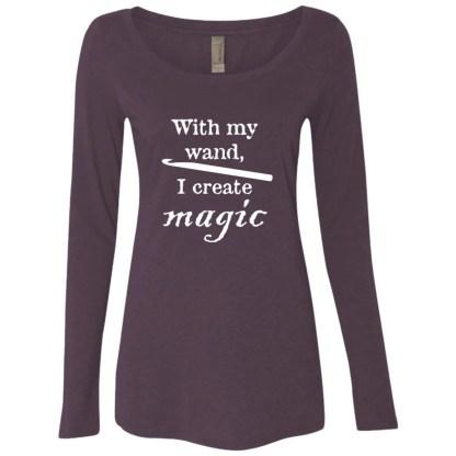 Crochet hook magic wand triblend long sleeve scoop t-shirt