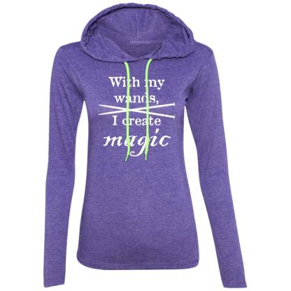 Knitting needles magic wands long sleeve T-Shirt hoodie