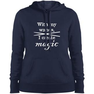 Knitting needles magic wands pullover hooded sweatshirt