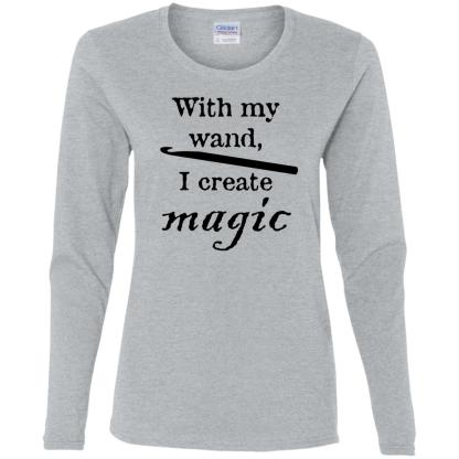 Crochet hook magic wand long sleeve t-shirt