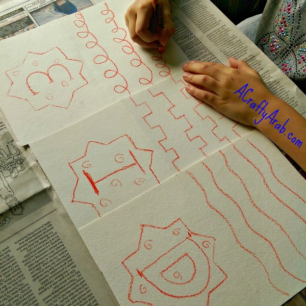 ACraftyArab Crayon Resist Eid Banner6