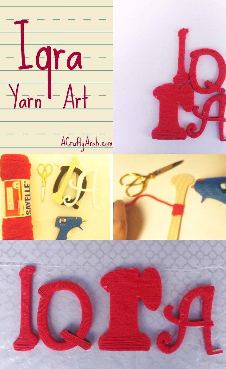 ACraftyArab Iqra Yarn ArtPin