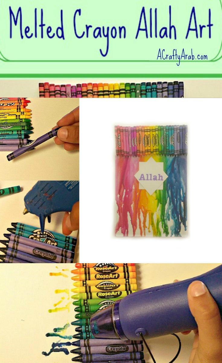 ACraftyArab Melted Crayon Allah ArtPin2
