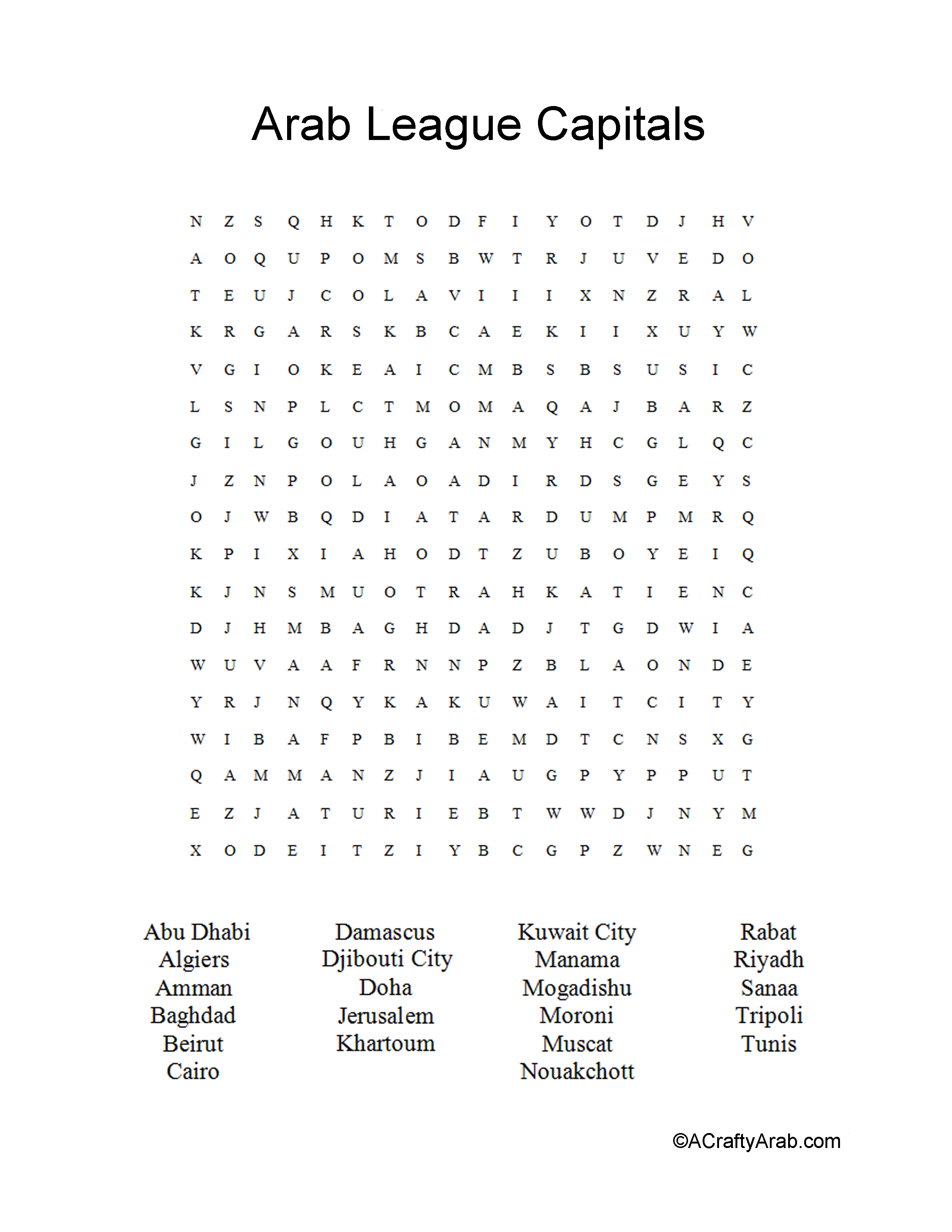 Arab League Capitals Word Search Printable