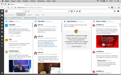 hootsuite e colunas com suas contas de rede social - acredite.co