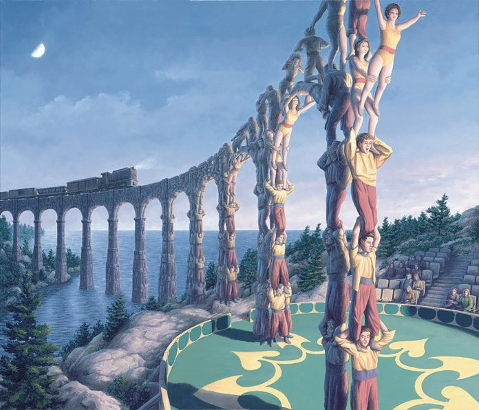 ponte ou pessoas se equilibrando