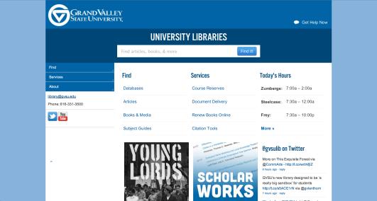 Grand Valley State University Libraries website via desktop browser