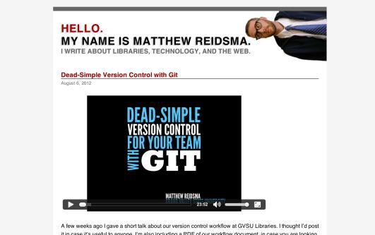 Matthew Reidsma's website via desktop browser