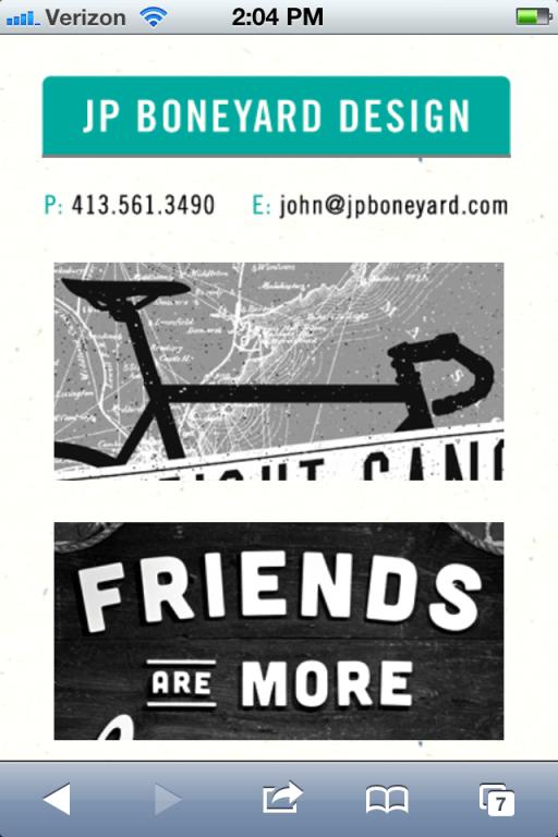 JP Boneyard design viewed on an iphone