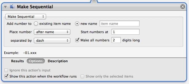 Set naming parameters