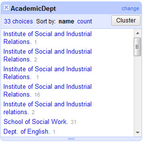 AcademicDept Text Facet