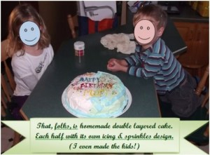 Kids With Homemade Birthday Cake For Mom