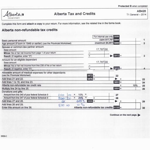 Alberta Tax Credit Form Edit