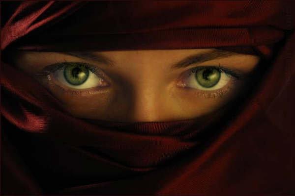 Niqab Woman Eyes Glaring