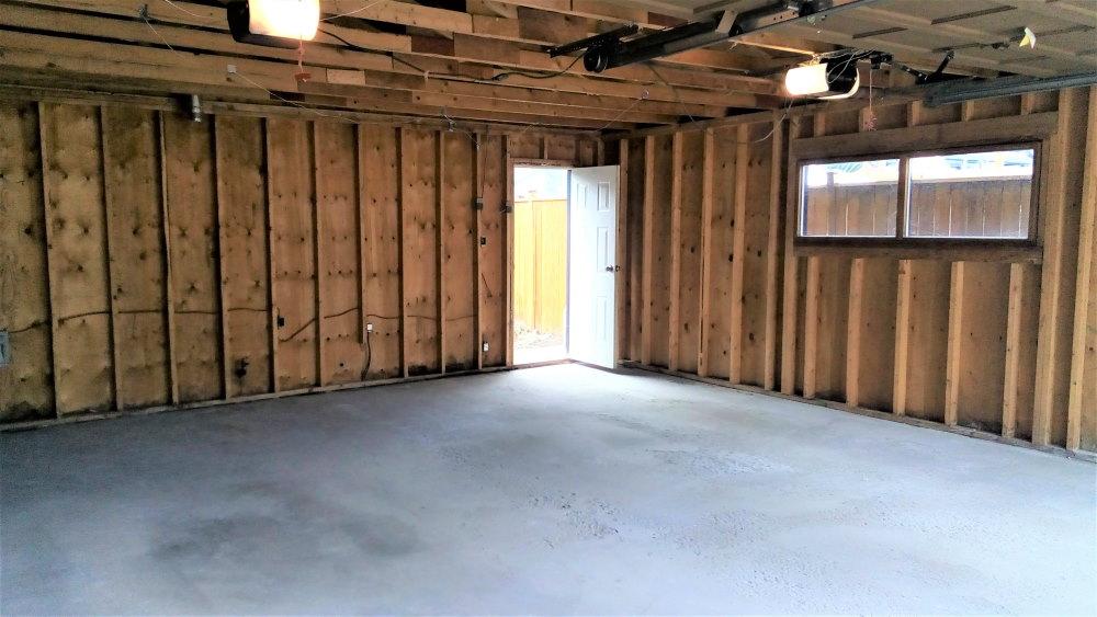 Gutted garage interior