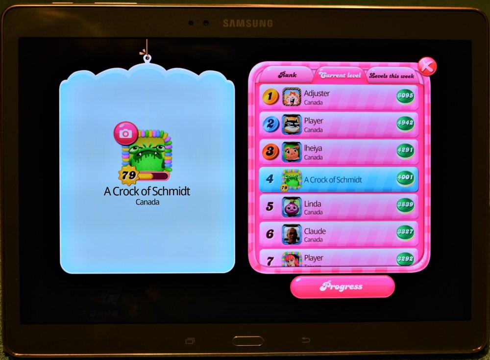 Leaderboard screenshot in Candy Crush Saga