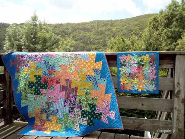 Acropatch-Panneau-mural-twisting pinwheels-Motif-Quilting-PICASSO CARRES-fil-uni-jaune orangé-Avec son grand frère