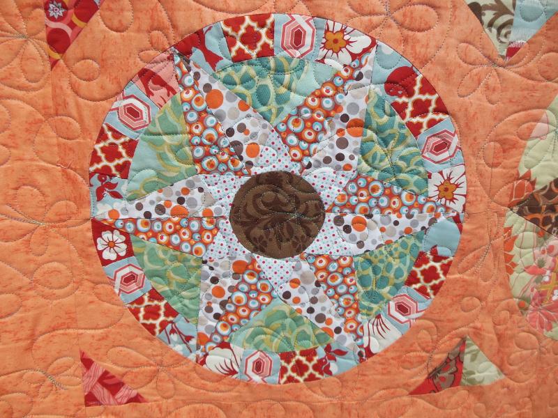 Acropatch-Motif-Matelassage-FARANDOLE-Couvre-lit-Sampler-Compas-Détails-Quiltage-Fil-multicolore