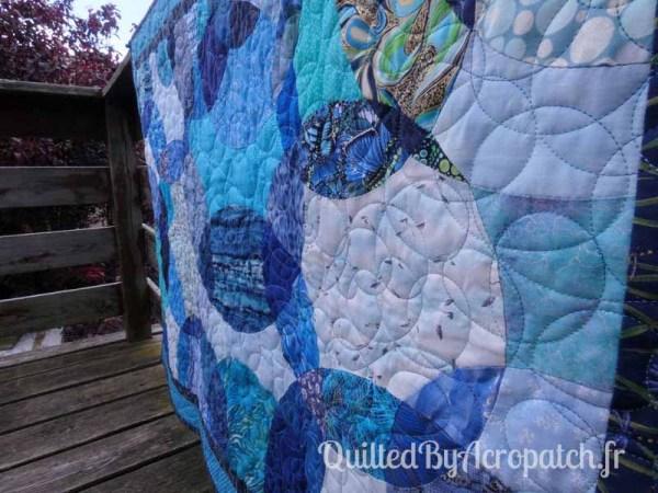 Acropatch-Panneau-mural-Motif-Quilting-LASSO-fil-dégradé-bleu-détails du matelassage